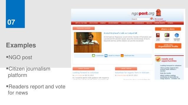 07ExamplesNGO postCitizen journalismplatformReaders report and votefor news