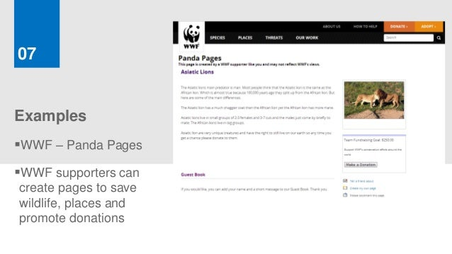 07ExamplesWWF – Panda PagesWWF supporters cancreate pages to savewildlife, places andpromote donations