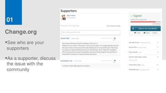 01Change.orgSee who are yoursupportersAs a supporter, discussthe issue with thecommunity