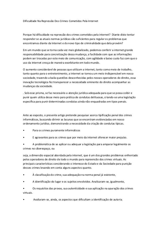 Dificuldade Na Repressão Dos Crimes Cometidos Pela Internet  Porque há dificuldade na repressão dos crimes cometidos pela ...