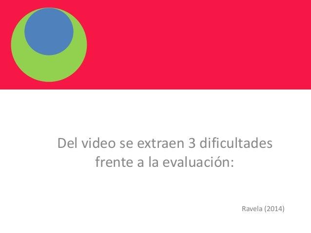 Del video se extraen 3 dificultades frente a la evaluación: Ravela (2014)