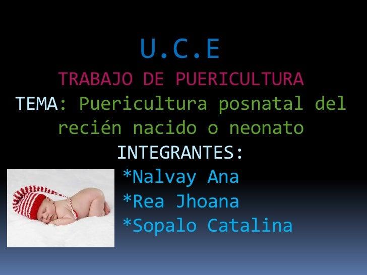 U.C.E    TRABAJO DE PUERICULTURATEMA: Puericultura posnatal del    recién nacido o neonato         INTEGRANTES:          *...