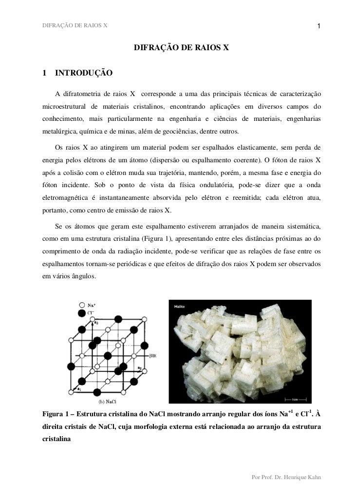DIFRAÇÃO DE RAIOS X                                                                             1                         ...