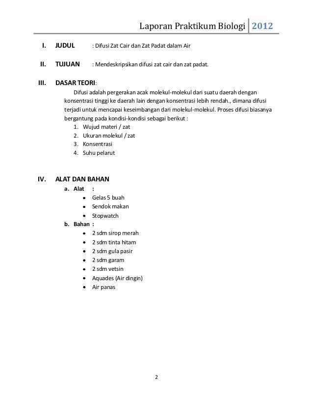 Contoh Laporan Praktikum Biologi Difusi Osmosis Contoh 193