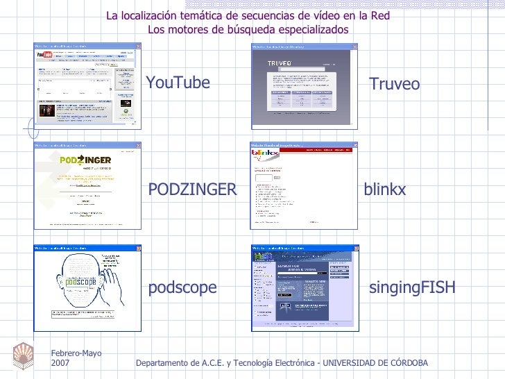 La localización temática de secuencias de vídeo en la Red Los motores de búsqueda especializados Truveo blinkx PODZINGER p...