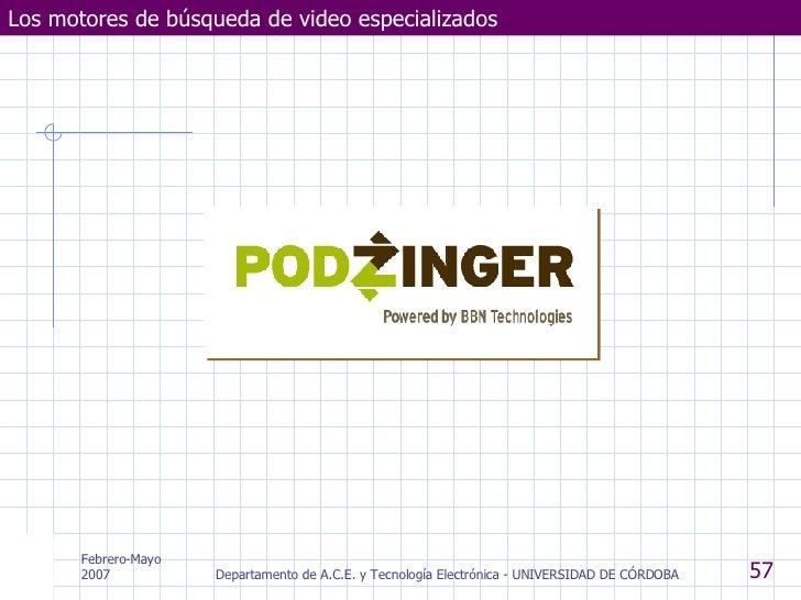 Los motores de búsqueda de video especializados Febrero-Mayo 2007 Departamento de A.C.E. y Tecnología Electrónica - UNIVER...