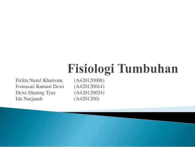 Firlita Nurul Kharisma Ivonasari Kuntari Dewi Dewi Dianing Tyas Ida Nurjanah  (A420120008) (A420120014) (A420120024) (A420...