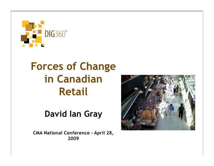 Forces of Change   in Canadian      Retail      David Ian Gray  CMA National Conference - April 28,               2009