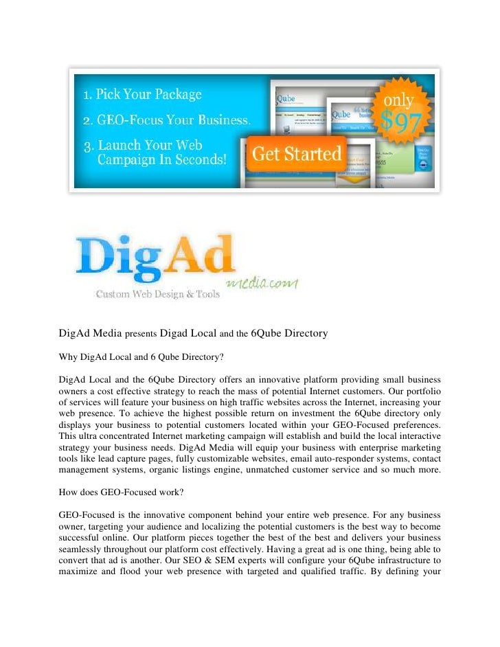 DigAd Media presents Digad Local and the 6Qube Directory  Why DigAd Local and 6 Qube Directory?  DigAd Local and the 6Qube...