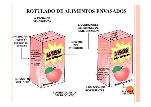 ROTULADO DE ALIMENTOS ENVASADOS 6. FECHA DE VENCIMIENTO 8. CONDICIONES ESPECIALES DE CONSERVACION 3.FABRICANTE Nombre y di...