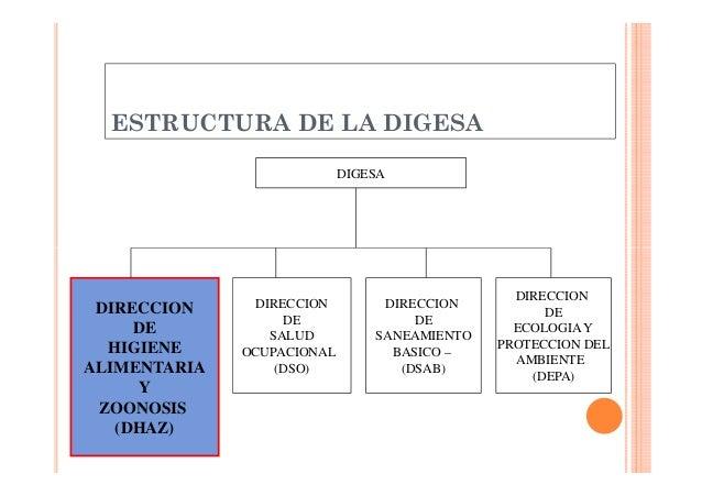 ESTRUCTURA DE LA DIGESA DIGESA  DIRECCION DE HIGIENE ALIMENTARIA Y ZOONOSIS (DHAZ)  DIRECCION DE SALUD OCUPACIONAL (DSO)  ...