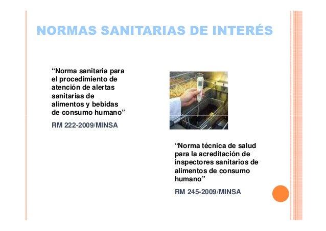 """NORMAS SANITARIAS DE INTERÉS """"Norma sanitaria para el procedimiento de atención de alertas sanitarias de alimentos y bebid..."""