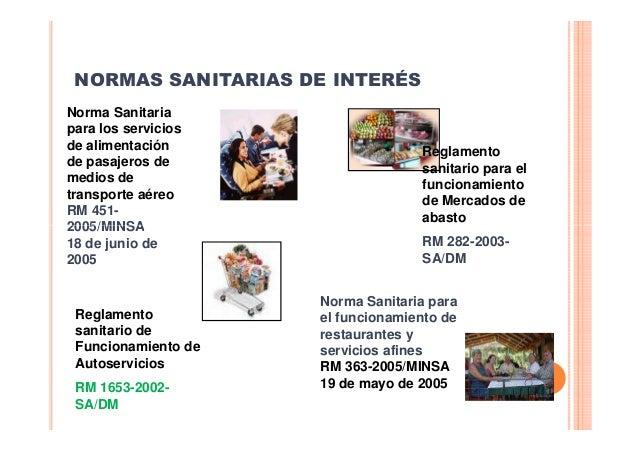 NORMAS SANITARIAS DE INTERÉS Norma Sanitaria para los servicios de alimentación de pasajeros de medios de transporte aéreo...