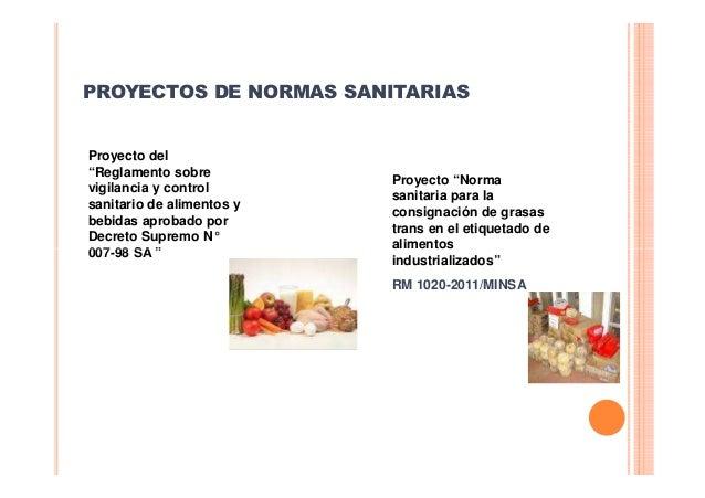 """PROYECTOS DE NORMAS SANITARIAS  Proyecto del """"Reglamento sobre vigilancia y control sanitario de alimentos y bebidas aprob..."""