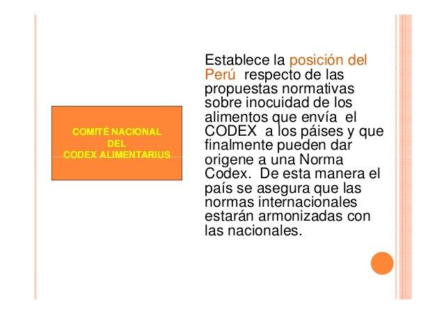 COMITÉ NACIONAL DEL CODEX ALIMENTARIUS  Establece la posición del Perú respecto de las propuestas normativas sobre inocuid...