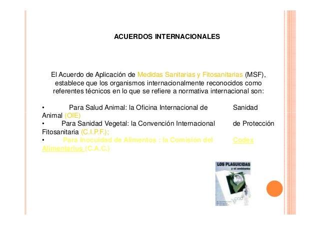 ACUERDOS INTERNACIONALES  El Acuerdo de Aplicación de Medidas Sanitarias y Fitosanitarias (MSF), establece que los organis...