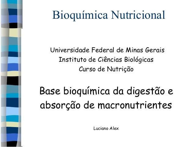 Bioquímica NutricionalUniversidade Federal de Minas GeraisInstituto de Ciências BiológicasCurso de NutriçãoBase bioquímica...