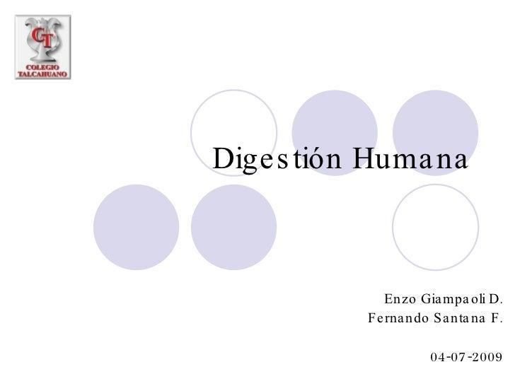Digestión Humana Enzo Giampaoli D. Fernando Santana F. 04-07-2009