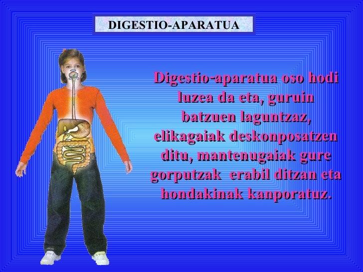 DIGESTIO-APARATUA Digestio-aparatua oso hodi luzea da eta, guruin batzuen laguntzaz, elikagaiak deskonposatzen ditu, mante...