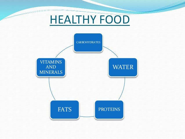 HEALTHY FOOD  CARBOHYDRATES  WATER  VITAMINS  FATS PROTEINS  AND  MINERALS