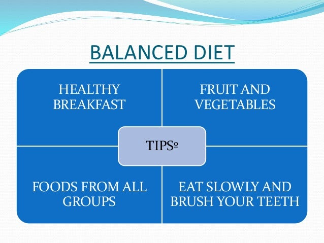 BALANCED DIET  HEALTHY  BREAKFAST  FRUIT AND  VEGETABLES  TIPSº  FOODS FROM ALL  GROUPS  EAT SLOWLY AND  BRUSH YOUR TEETH