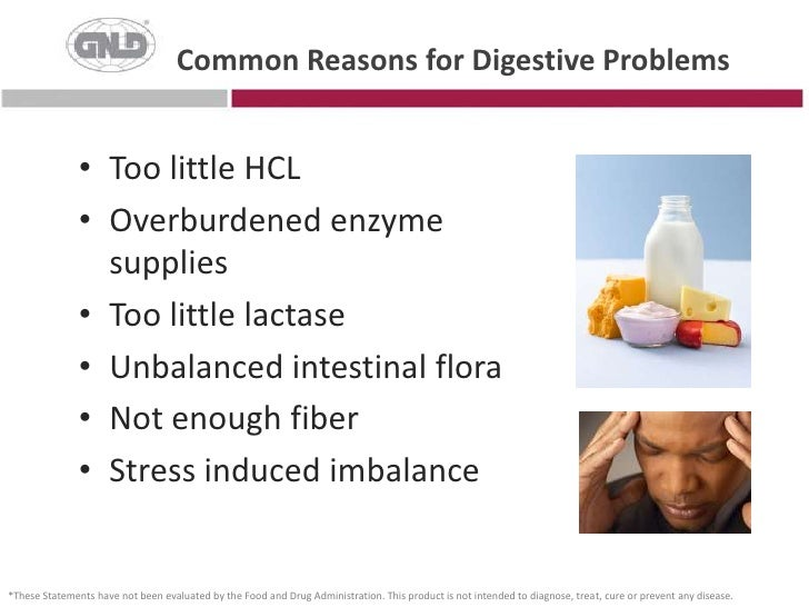 Common Reasons for Digestive Problems<br />Too little HCL<br />Overburdened enzyme supplies<br />Too little lactase<br />U...