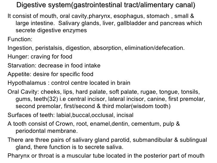 Digestive system(gastrointestinal tract/alimentary canal) <ul><li>It consist of mouth, oral cavity,pharynx, esophagus, sto...