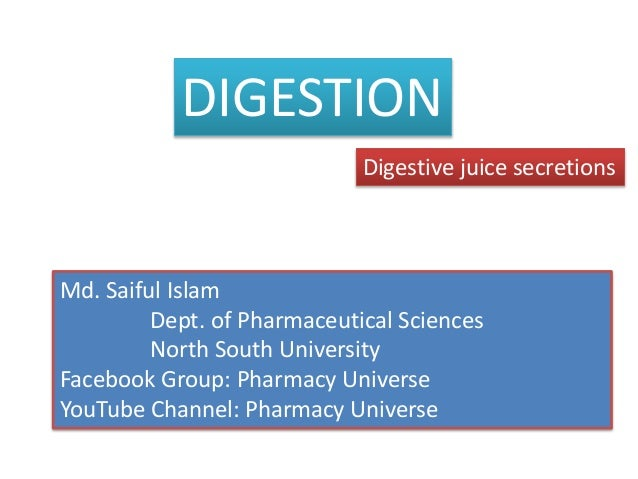 DIGESTION Digestive juice secretions Md. Saiful Islam Dept. of Pharmaceutical Sciences North South University Facebook Gro...