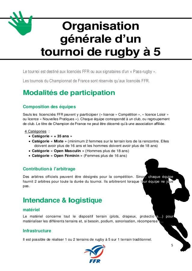 5 Organisation générale d'un tournoi de rugby à 5 Le tournoi est destiné aux licenciés FFR ou aux signataires d'un « Pass-...