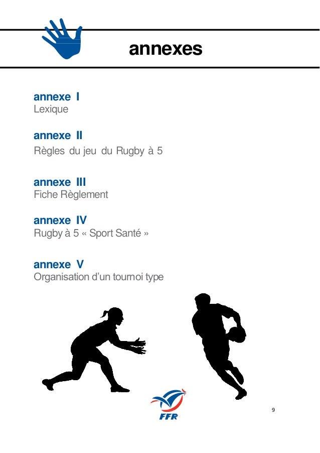 9 annexes annexe I Lexique annexe II Règles du jeu du Rugby à 5 annexe III Fiche Règlement annexe IV Rugby à 5 « Sport San...