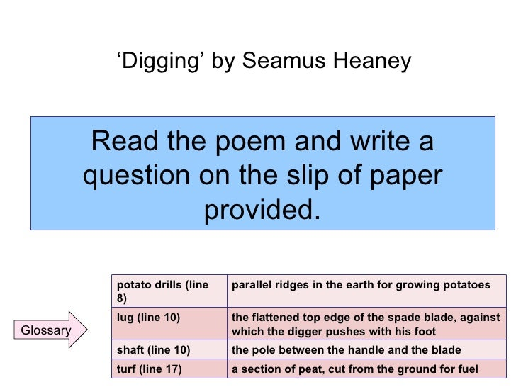 an analysis of the early purges poem by seamus heaney The poems in seamus heaney's collection the spirit level keep discovering the possibilities of 'a new beginning' in all kinds of subjects and circumstances what is at stake, in poem after poem, is the chance of buoyancy and balance, physical, spiritual and political.