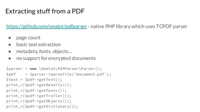 Digging deeper into processing PDF files in PHP