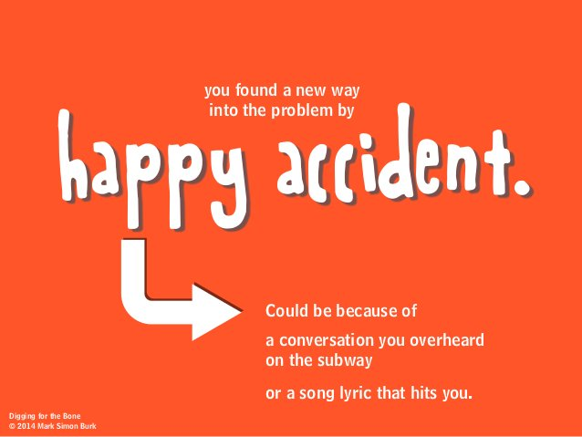Could be because of a conversation you overheard on the subway or a song lyric that hits you. happy accident. you found a ...
