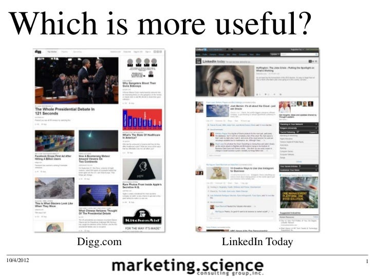 Which is more useful?            Digg.com   LinkedIn Today10/4/2012                               1