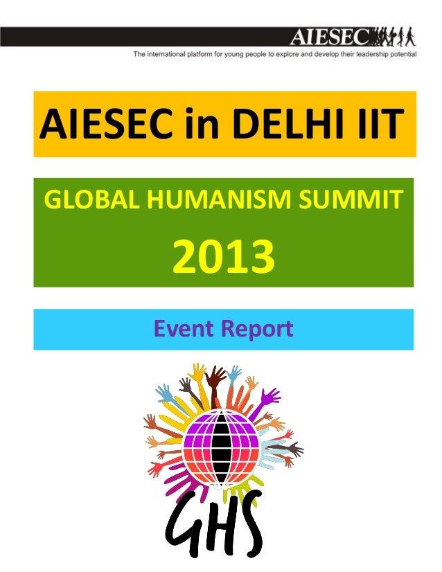 AIESEC in DELHI IIT GLOBAL HUMANISM SUMMIT  2013 Event Report