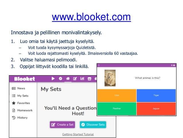 www.blooket.com Innostava ja pelillinen monivalintakysely. 1. Luo omia tai käytä jaettuja kyselyitä. – Voit tuoda kysymyss...