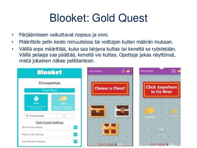 Blooket: Gold Quest • Pärjäämiseen vaikuttavat nopeus ja onni. • Määrittele pelin kesto minuuteissa tai voittajan kullan m...