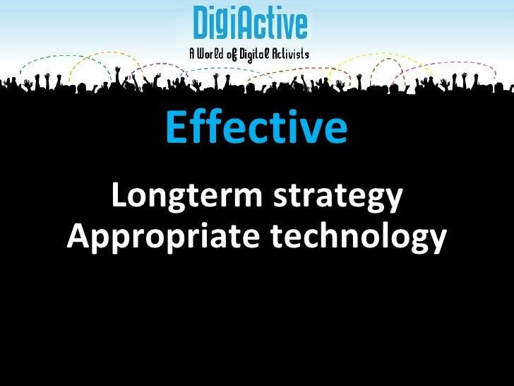 Appropriate technology Effective Longterm strategy