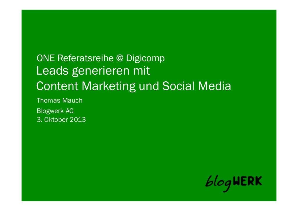 Thomas Mauch: Leads generieren mit Content Marketing und Social Media