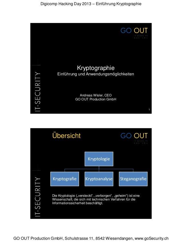 Digicomp Hacking Day 2013 – Einführung KryptographieGO OUT Production GmbH, Schulstrasse 11, 8542 Wiesendangen, www.goSecu...