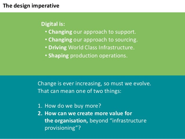 Digitalis: • Changing ourapproachtosupport. • Changing ourapproachtosourcing. • Driving WorldClassInfrastructure....