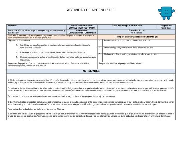 ACTIVIDAD DE APRENDIZAJE  Profesor: Institución Educativa:  DONALD RODRIGO TAFUR  Área: Tecnología e Informática Asignatur...