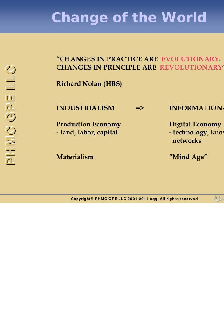 """Change of the World               """"CHANGES IN PRACTICE ARE EVOLUTIONARY.               CHANGES IN PRINCIPLE ARE REVOLUTION..."""