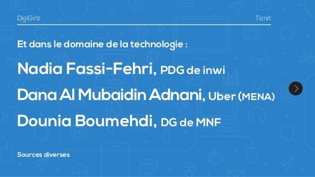 Et dans le domaine de la technologie : Nadia Fassi-Fehri, PDG de inwi Dana Al Mubaidin Adnani,Uber (MENA) Dounia Boumehdi,...