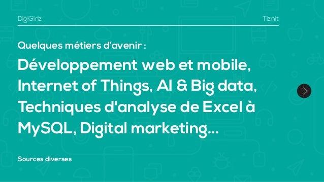 Quelques métiers d'avenir : Développement web et mobile, Internet of Things, AI & Big data, Techniques d'analyse de Excel ...