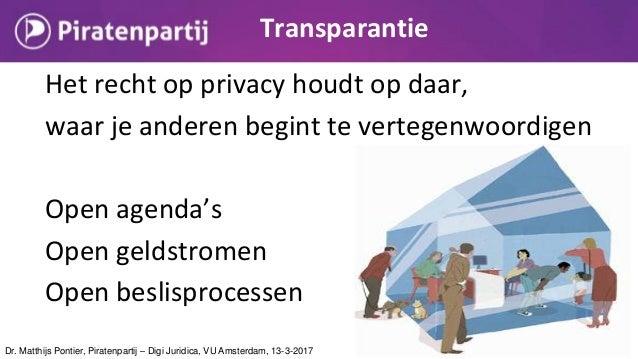 Het recht op privacy houdt op daar, waar je anderen begint te vertegenwoordigen Open agenda's Open geldstromen Open beslis...