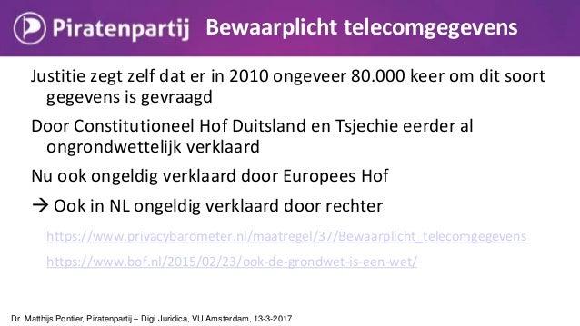 Uitbreiding aftapbevoegdheden AIVD en MIVD in strijd met communicatiegeheim Dr. Matthijs Pontier, Piratenpartij – Digi Jur...
