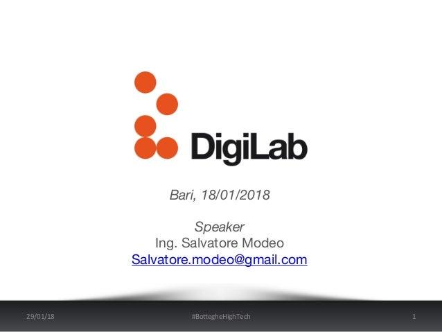Bari, 18/01/2018  Speaker Ing. Salvatore Modeo Salvatore.modeo@gmail.com   29/01/18 #Bo+egheHighTech 1