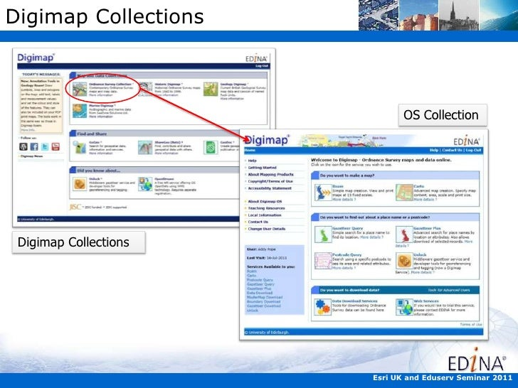 Getting and Using Data from Digimap in ArcGIS - ESRI  User Day 2011 Slide 3