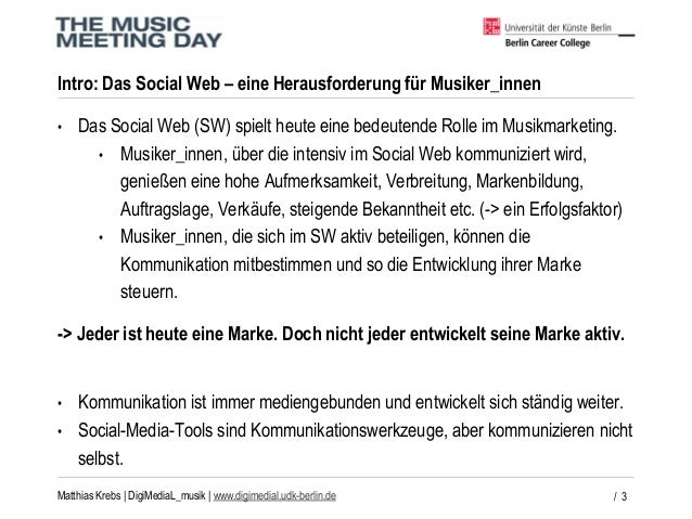 DigiMediaL_musik - Wie Musiker_innen erfolgreich im Social Web kommunizieren.  Slide 3